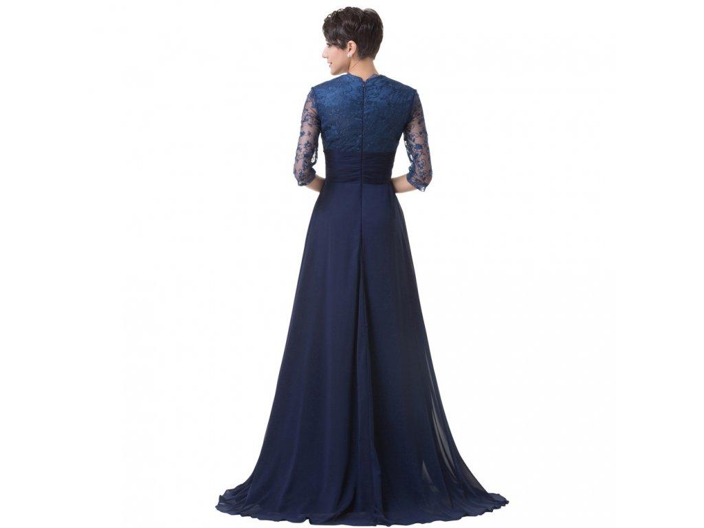 Modré dlouhé luxusní společenské šaty pro matku nevěsty s rukávem ... f17f7e4f535