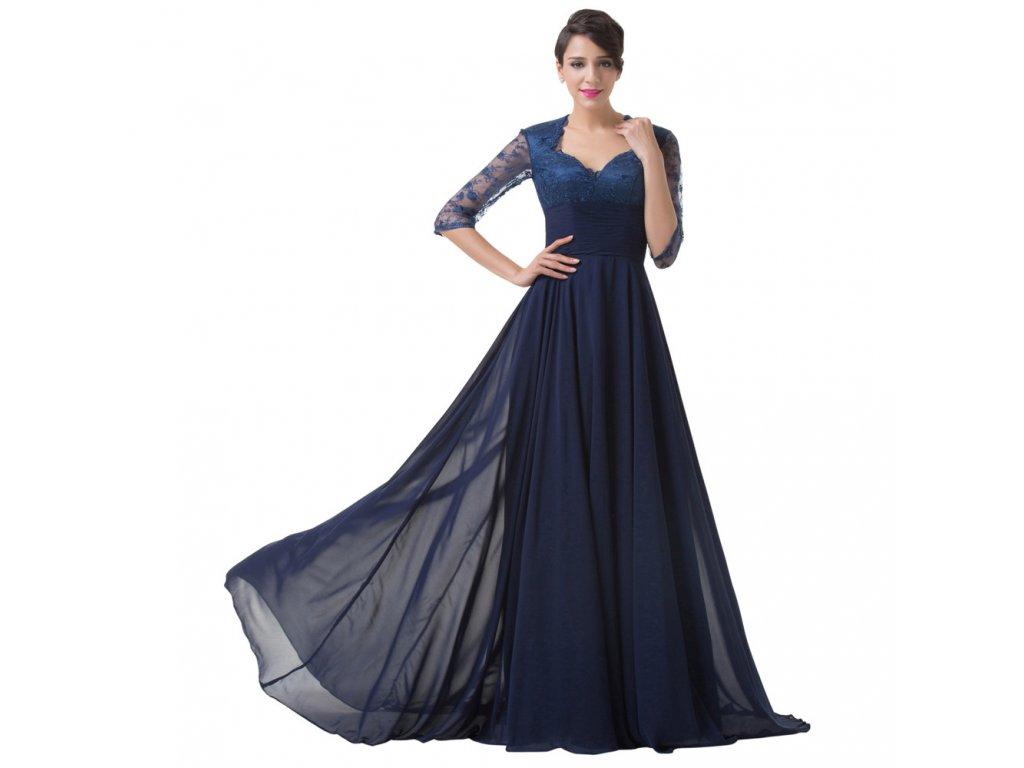 e5e842ef0e7c Modré dlouhé luxusní společenské šaty pro matku nevěsty s rukávem ...