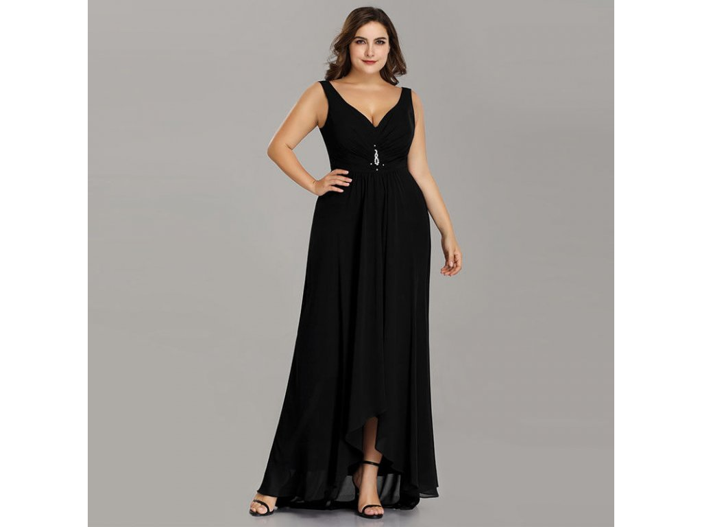 be02f826881a Černé dlouhé společenské šaty na ramínka vpředu kratší pro plnoštíhlé