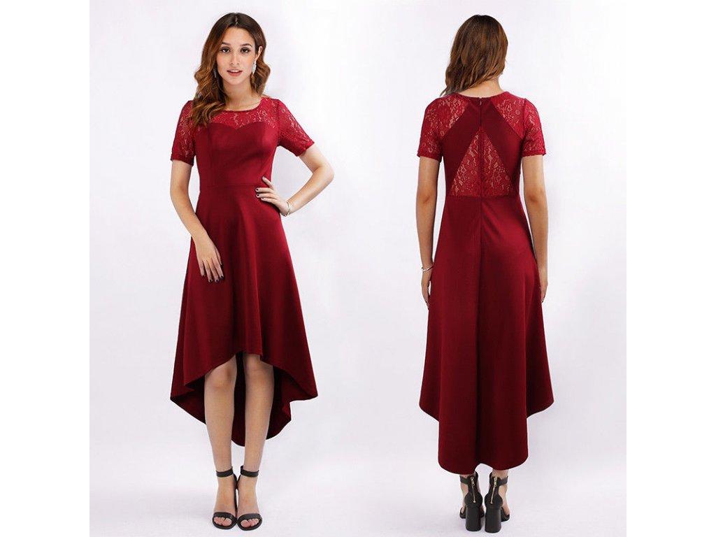 789b60b4c1f9 Červené bordó koktejlky s asymetrickou sukní krajkou - www ...