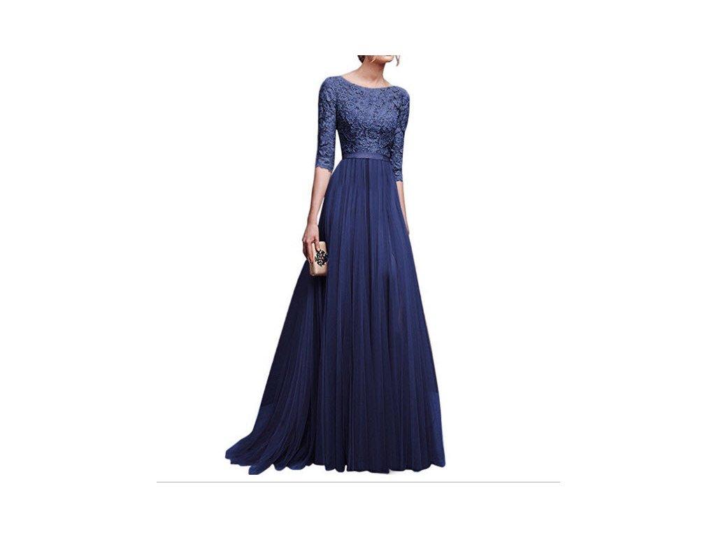 a7db791fabf0 Modré romantické dlouhé společenské šaty s 3 4 rukávy - www ...