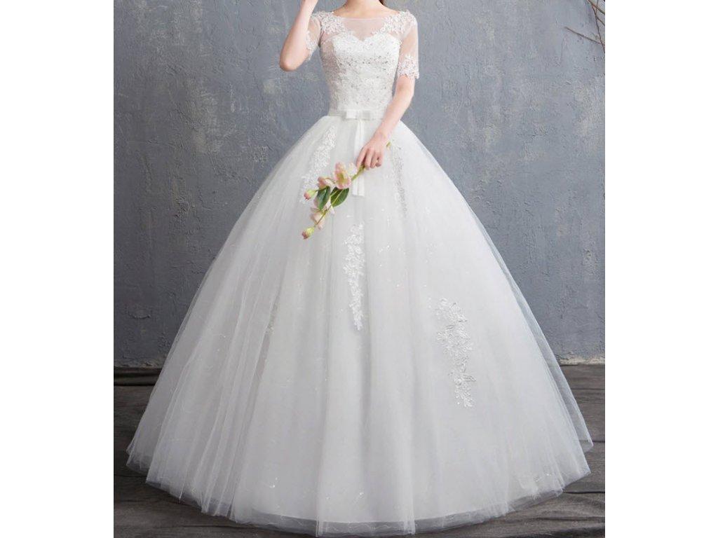 aa0e0f76b122 Bílé luxusní dlouhé svatební šaty s krátkým rukávem a krajkou - www ...