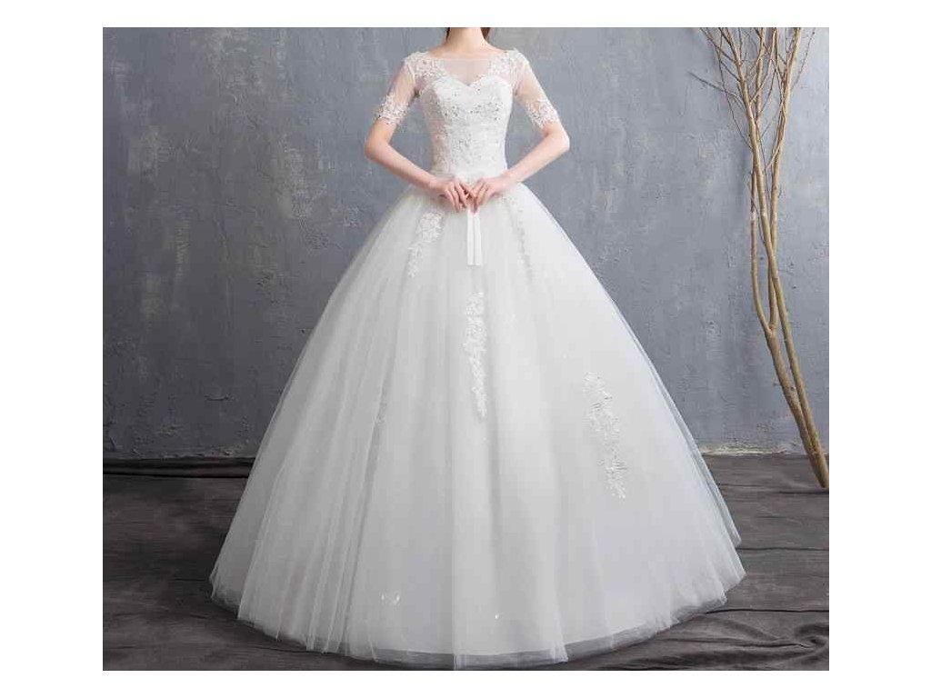 695e6dea4691 Bílé luxusní dlouhé svatební šaty s krátkým rukávem a krajkou - www ...