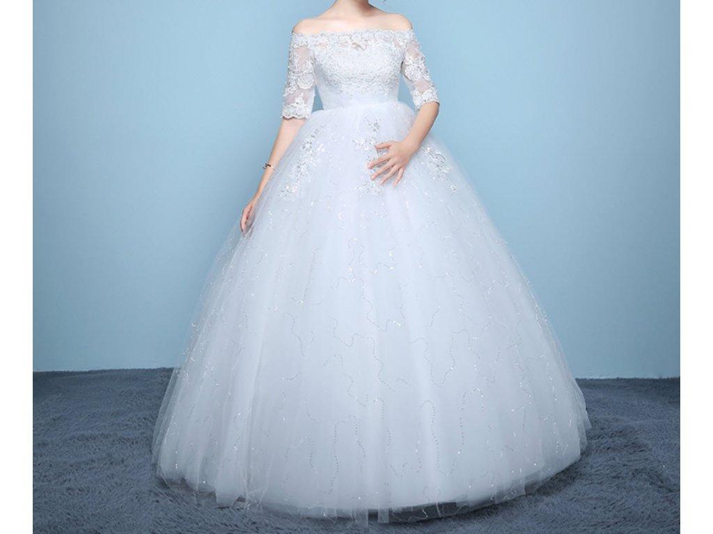a3ebba39ed12 Bílé dlouhé luxusní těhotenské svatební šaty s rukávky - www ...