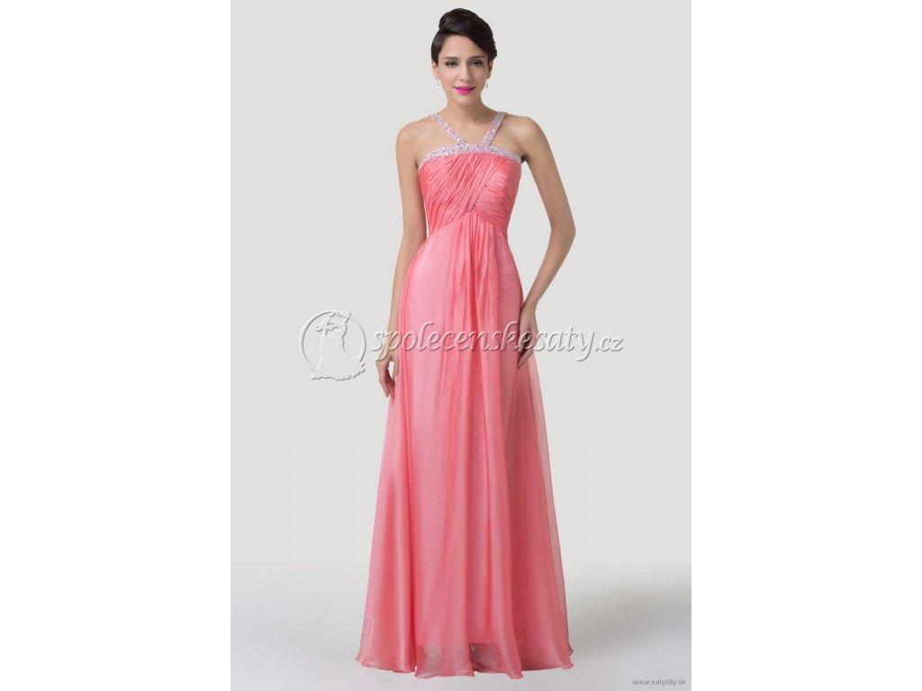 Růžové losové dlouhé luxusní společenské saténové šaty se štrasovou ... 0ac8e1da74