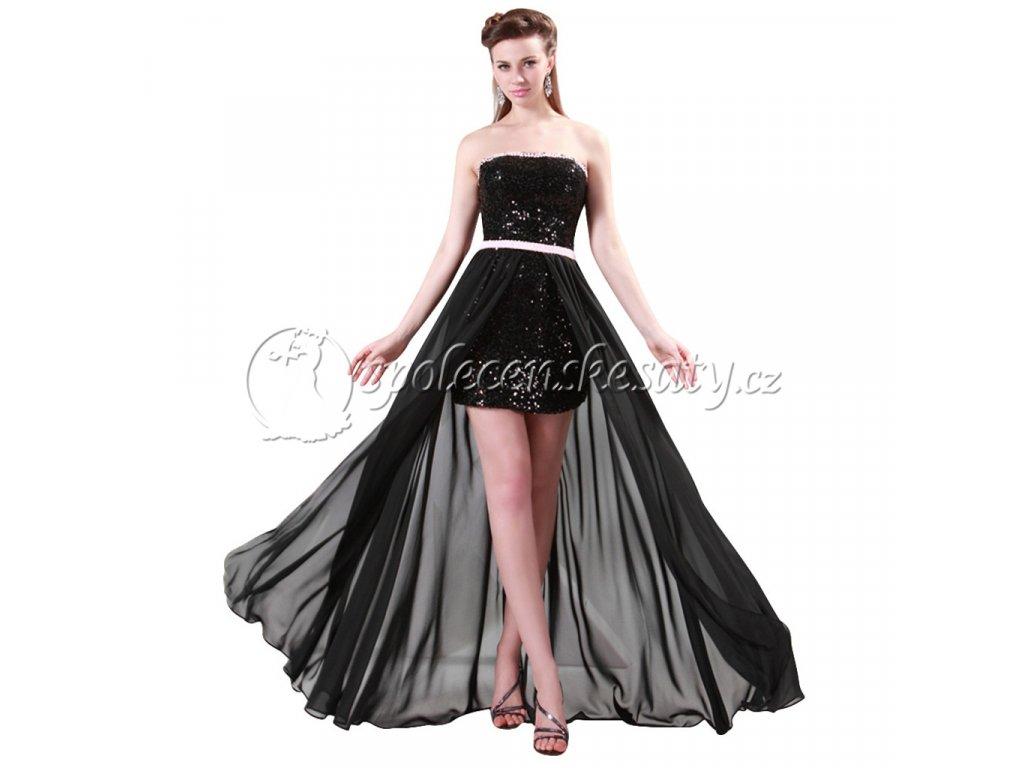 Luxusní černé mini dlouhé plesové společenské šaty s dlouhou ... f998fdf3e7