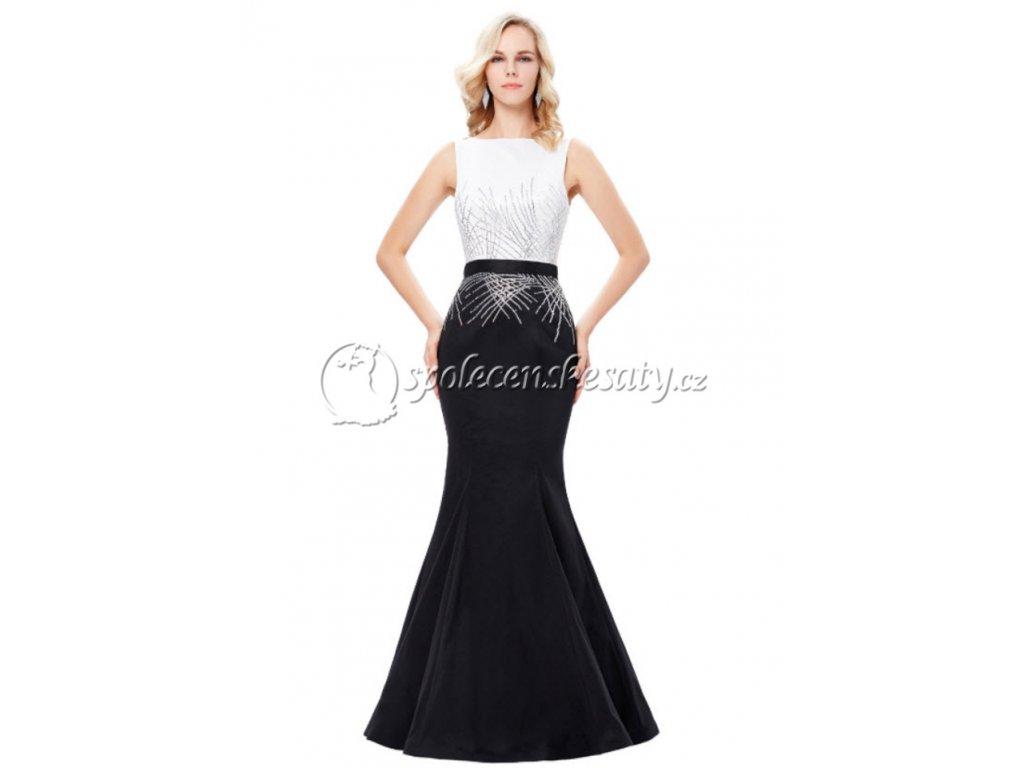 2aa1d250836 Černé bílé dlouhé luxusní společenské plesové šaty mořská pana s ...