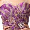 Fialové luxusní dlouhé paví společenské šaty L141 6
