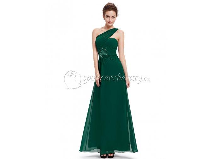 Zelené dlouhé luxusní společenské šaty na jedno rameno L 185