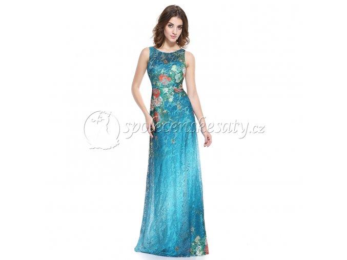 Modré barevné květinové šaty pošité krajkou L 186 1
