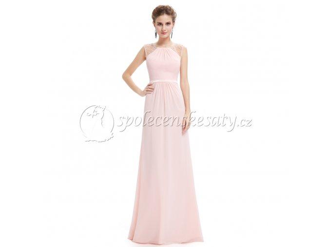 Růžové dlouhé společenské šaty jemné L187