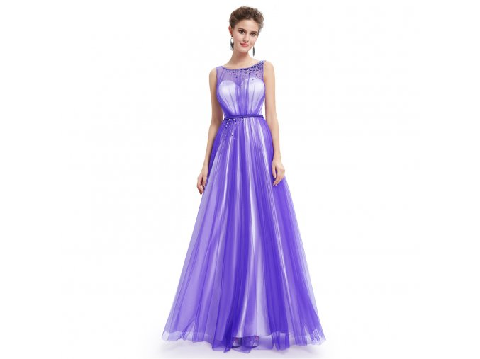 Fialové bílé dlouhé společenské luxusní plesové šaty na ples vel. 44 L L189