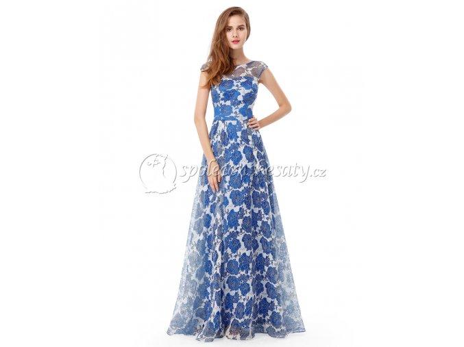 Modré květované luxusní spolecenske saty L194