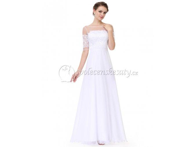 Bílé svatební luxusní společenské svatební šaty s rukávky LS300