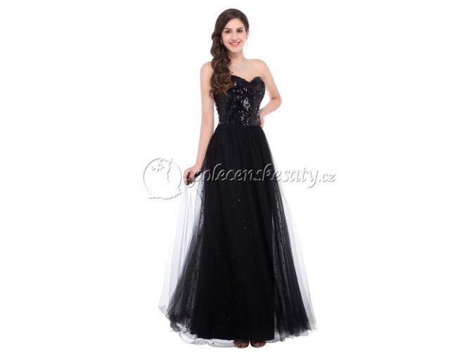 Černé dlouhé flitrové šaty s tylovou sukní L 196