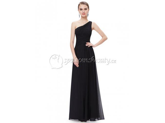 Černé dlouhé společenské šaty na jedno rameno křížené L198