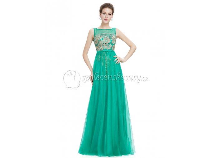 Zelené dlouhé luxusní společenské šaty se zlatou výšivkou L201
