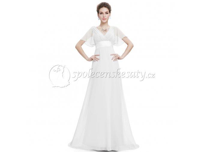 Bílé dlouhé svatebmí šaty s rukávky vel 44 LS301 1