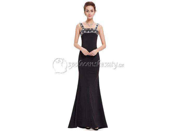 Černé dlouhé společenské šaty s geometrickými flitry L203