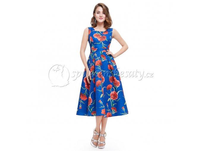 Modré barevné společenské šaty s květy do půl lýtek L205 2