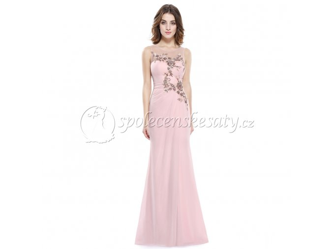 Růžové dlouhé společenské šaty s flitry a rozparkem L193 2