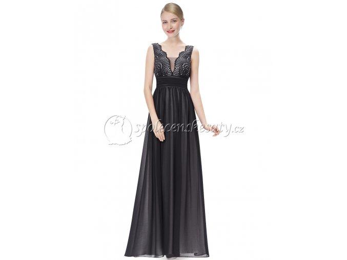 Černé dlouhé společenské šaty s krajkovým topem L207 1