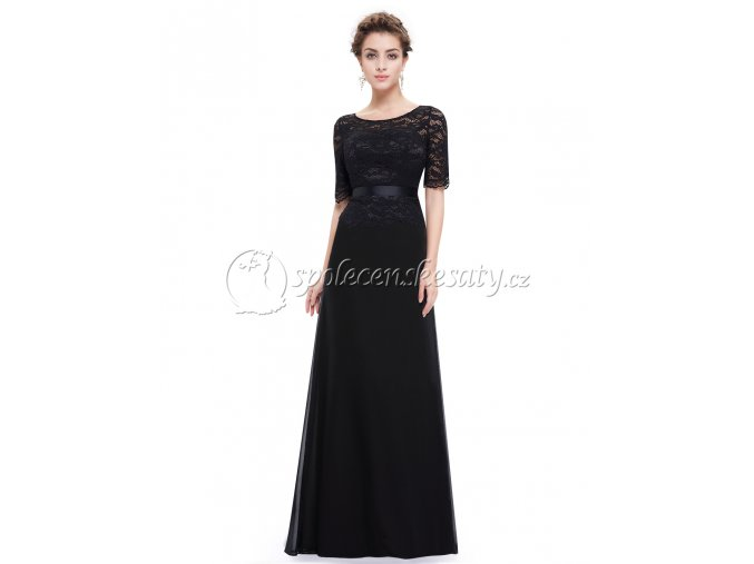 Černé společenské šaty s krajkou L211