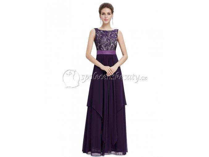 Fialové dlouhé společenské šaty s krajkovým topem a asymetrickou vrchní sukní L221