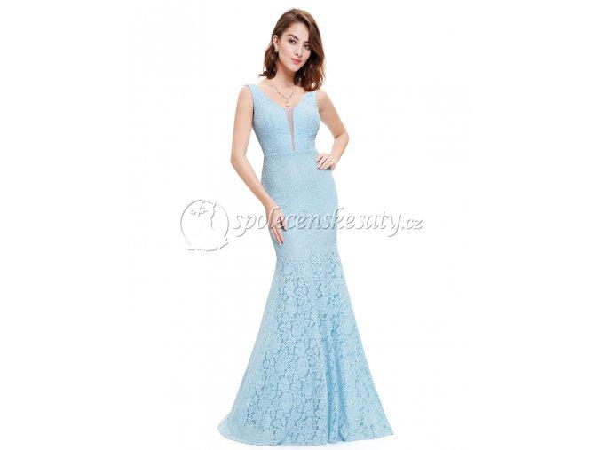 Modré světlé dlouhé krajkové společenské šaty L223