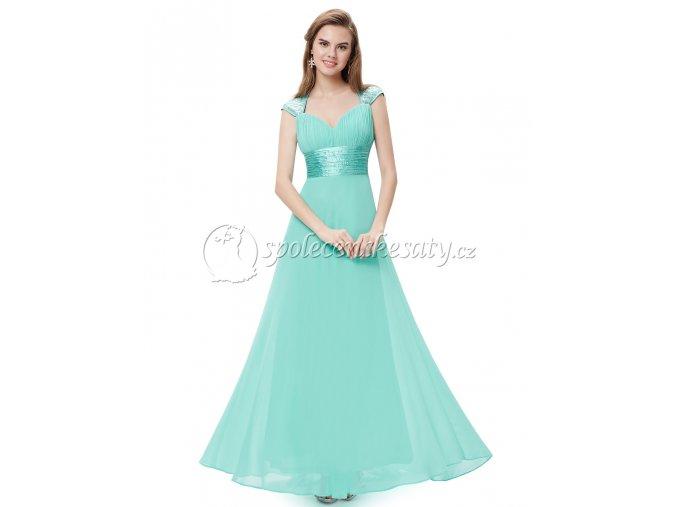 Tyrkysové dlouhé společenské šaty s výstřihem na zádech L224 1