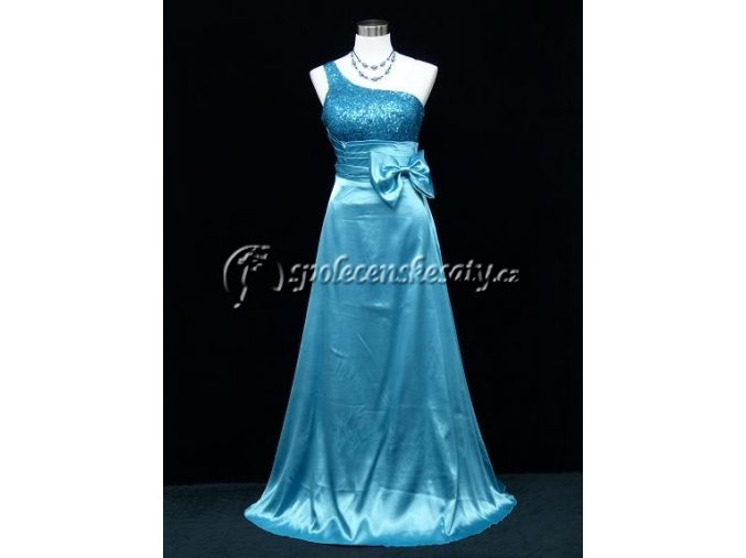 Světle modré společenské šaty asymetrické rameno