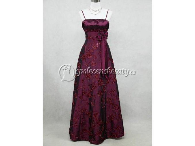 Fialové dlouhé společenské šaty vyšívané