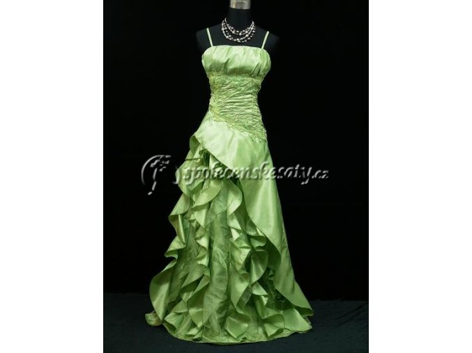 Zelené polečenské šaty volánky