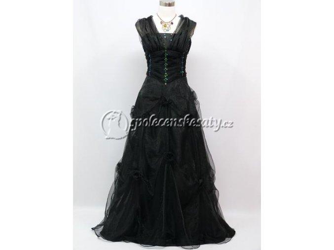 Černé dlouhé společenské šaty se šálou za krk