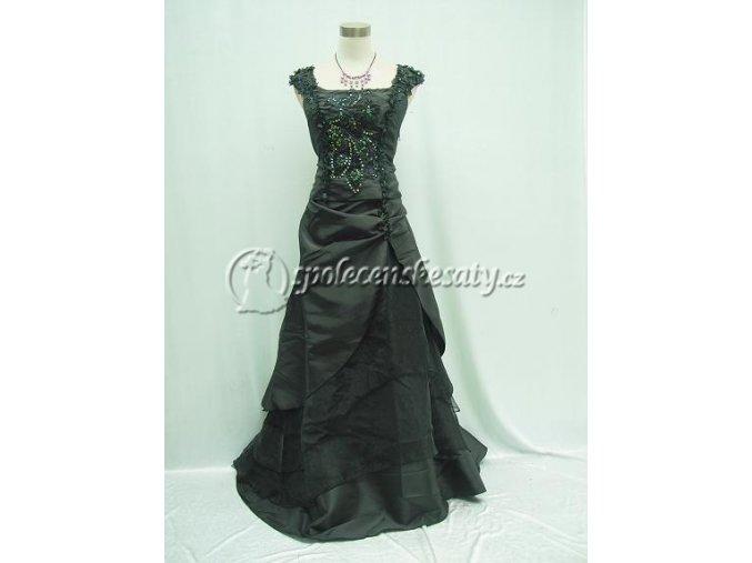 Černé douhé společenské šaty s kytičkovými ramínky