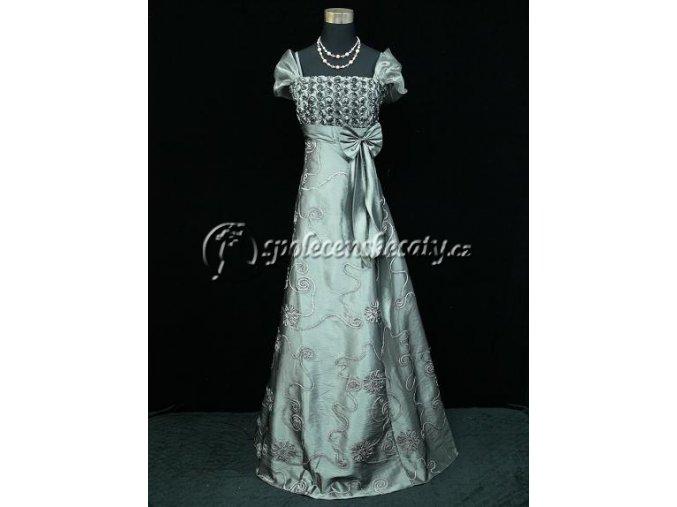 Šedé dlouhé společenské šaty s dvojitými ramínky