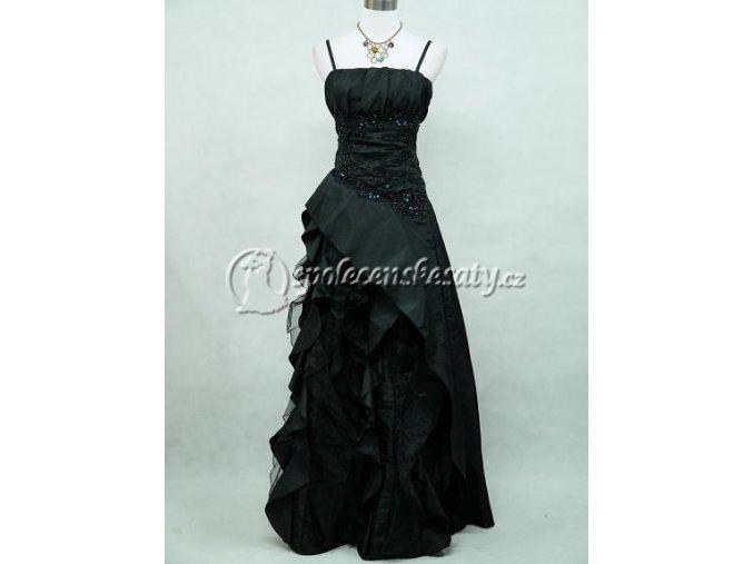 Černé dlouhé společenské šat s volány nové