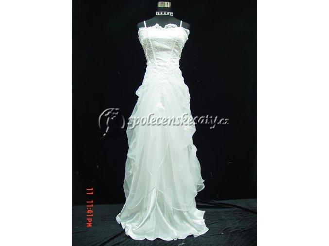 Bílé svatební společenské šaty s nadýchanou sukní pro popelku