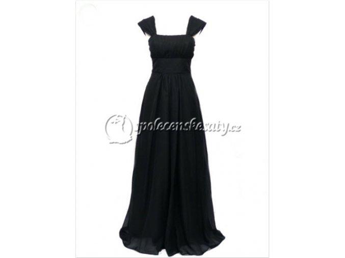 Černé dlouhé společenské šaty se šněrovačkou pro těhotné plnoštíhlé na ples 38-44