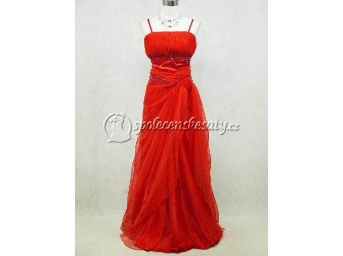 Červené dlouhé společenské šaty z organzy vílí