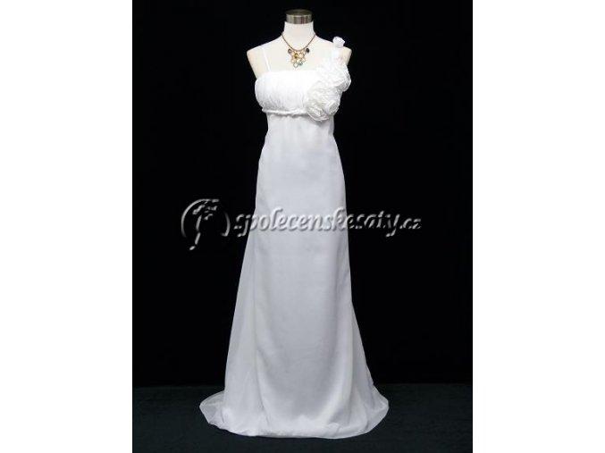 Bílé dlouhé svatební šaty pro těhotné empírové