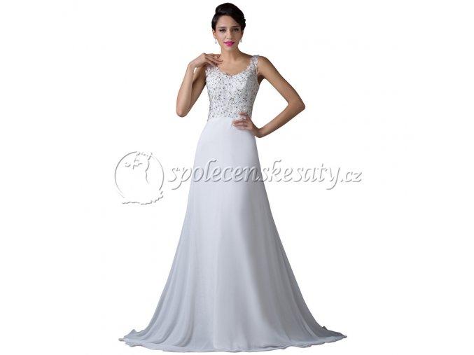 Bílé luxusní svatební šaty s vlečkou L002