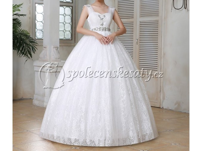 Bílé dlouhé těhotenské luxusní svatební šaty na široká ramínka