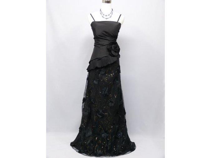 Černé dlouhé společenské šaty asymetrické s krajkou zavinovací na ples