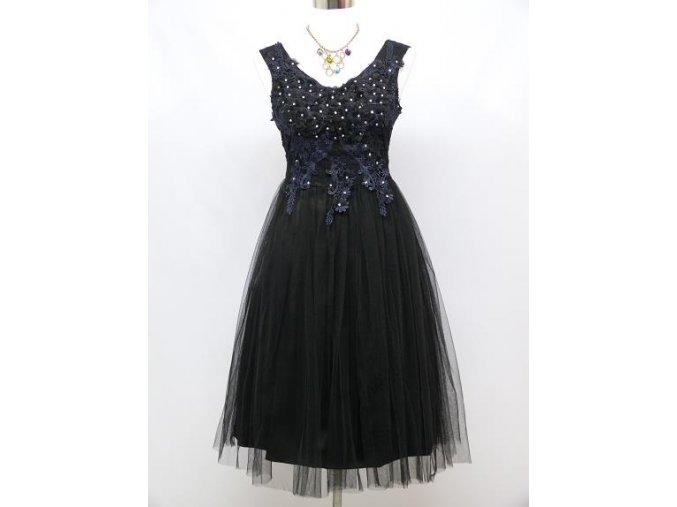 Černé krátké společenské šaty po kolena s krajkovým topem 1
