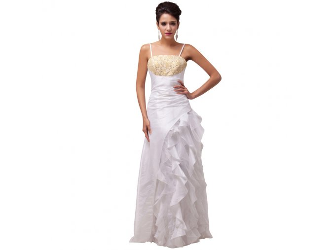 Bílé svatební šaty se zlatým topem volány 1 1