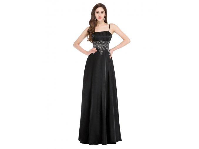 Černé dlouhé společenské šaty pro plnoštíhlé se stříbrnou krajkou 5
