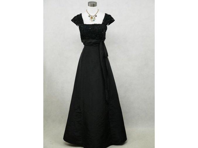 Černé dlouhé společenské šaty se širokými ramínky 1