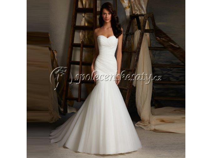 Bílé luxusní svatební šaty mořská panna