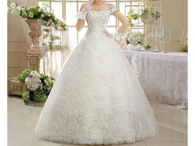 Bílé luxusní vyšívané svatební šaty s krajkou